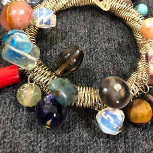 Elastic multi colored boho beads stretch bracelet
